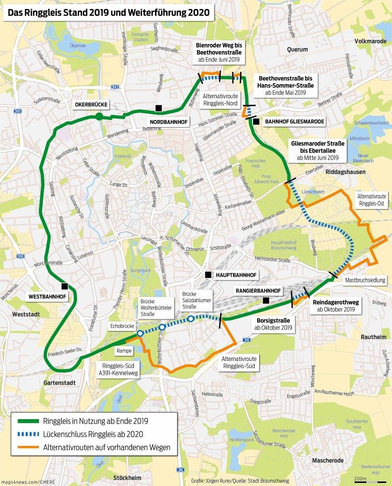 Der aktuelle Plan des Ringgleises zeigt den Ringschluss mit den Alternativrouten, der in diesem Jahr verwirklicht wird. Bis Radfahrer und Fußgänger auf der Originalstrecke unterwegs sein können, dürften noch einige Jahre vergehen. Ein Knackpunkt sind die Brücken im Süden.