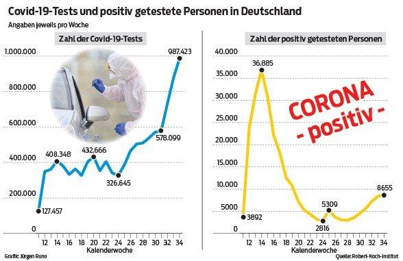 DIese Grafik zeigt die Zahl Covid-19-Tests und positiv getesteten Personen in Deutschland.